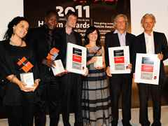 Winners of the Holcim Awards Gold, Silver and Bronze 2011 Africa Middle East (l-r): Salima Naji …