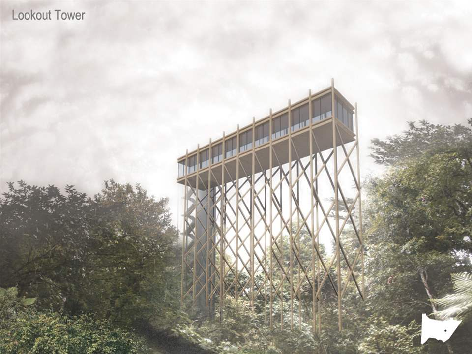Project entry 2011 - Ecological awareness and recreation reserve, Banderilla, Mexico: Lookout tower.