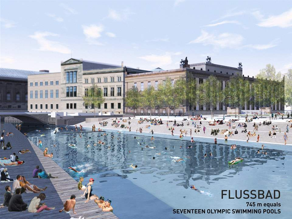 "Project entry 2011 ""Urban renewal and swimming-pool precinct"", Berlin, Germany: Panorama Flussbad …"