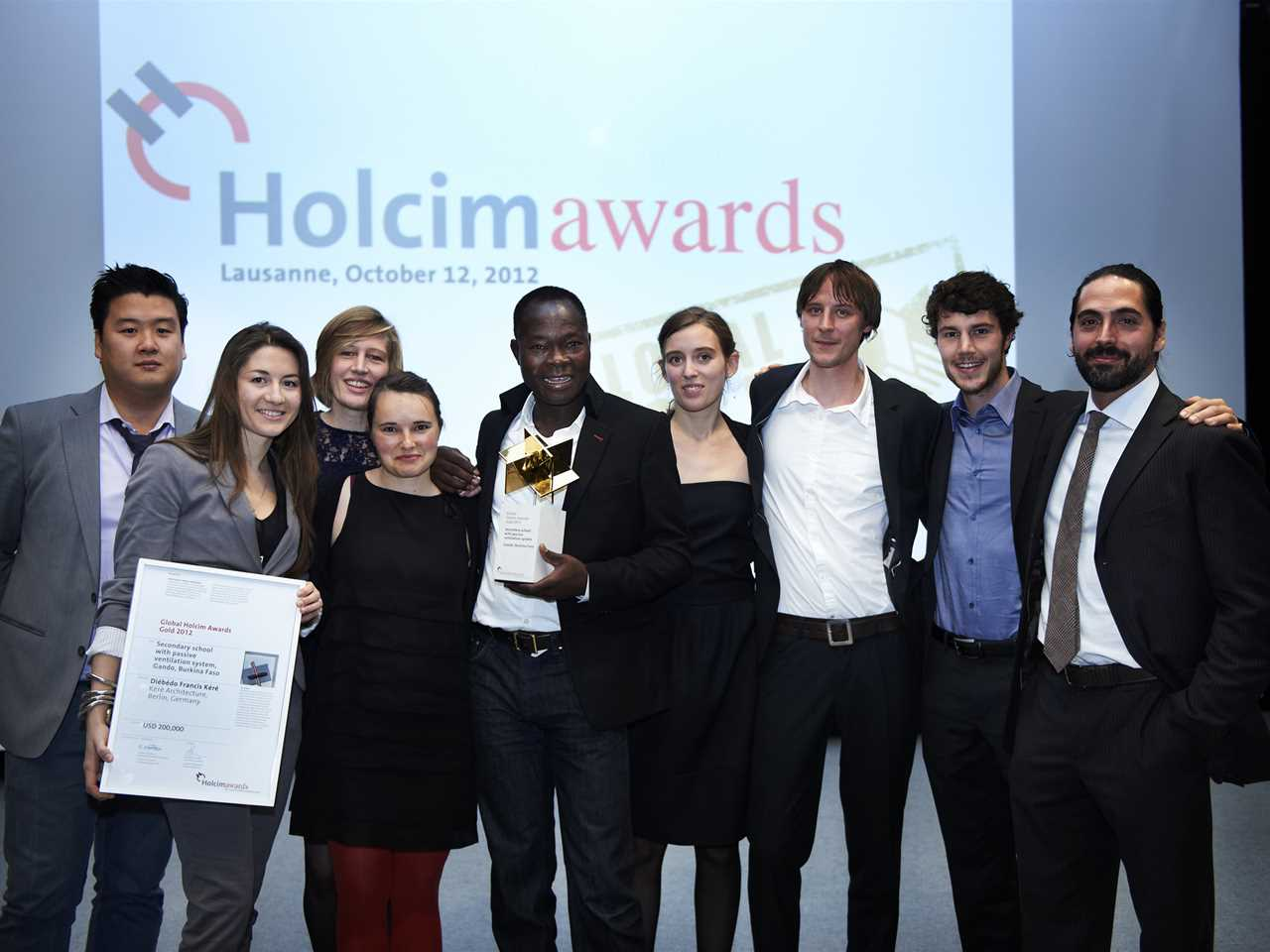 "The Global Holcim Awards Gold 2012 winning team for ""Secondary school with passive ventilation …"