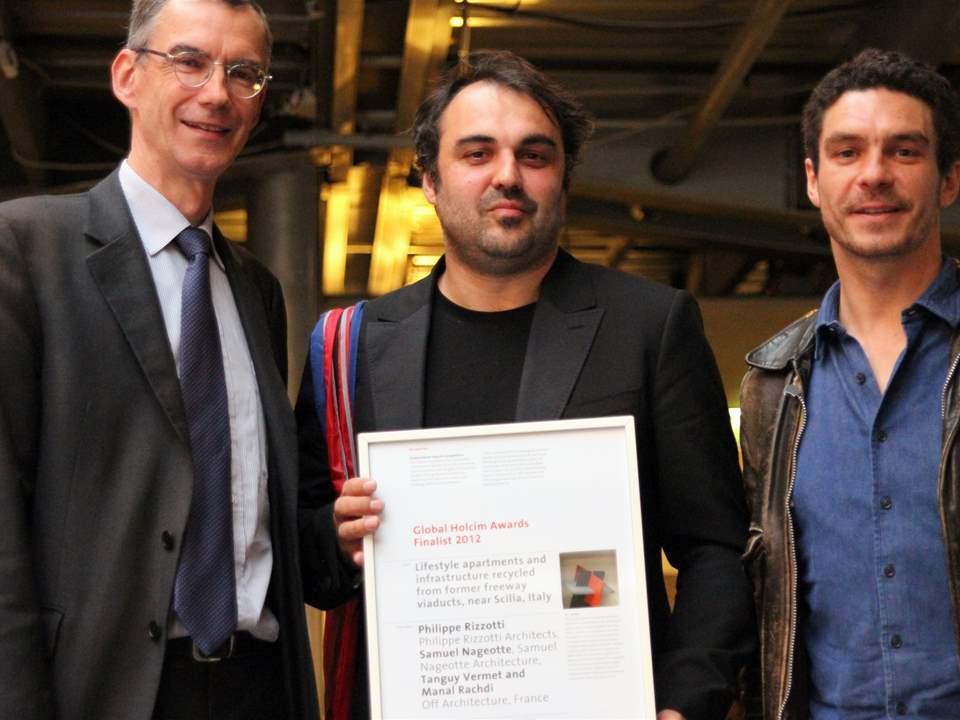 Global Holcim Awards Finalist 2012 certificate presentation (l-r): CEO of Holcim France, Gérard …