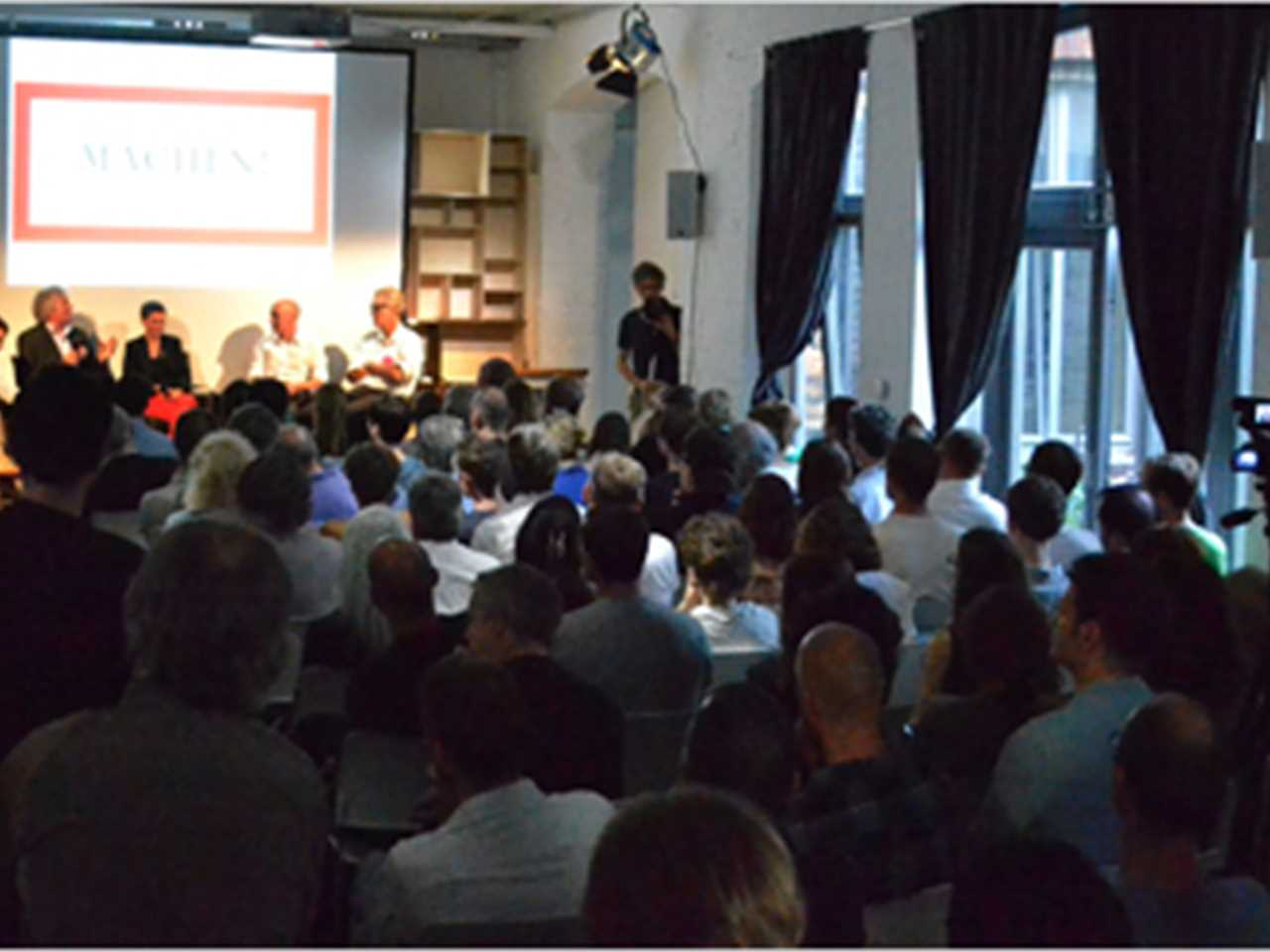 "Some 130 people attended ""Heating with concrete, cooling with clay"" at Aedes Architekturforum in …"