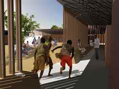 Secondary school with passive ventilation system, Gando, Burkina Faso: Buffer zone.