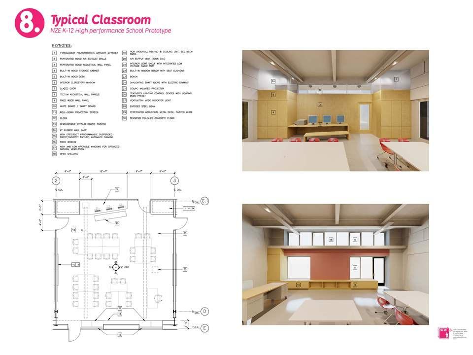 Project entry 2011 -  Zero net energy school building, Los Angeles, USA: Typical classroom.