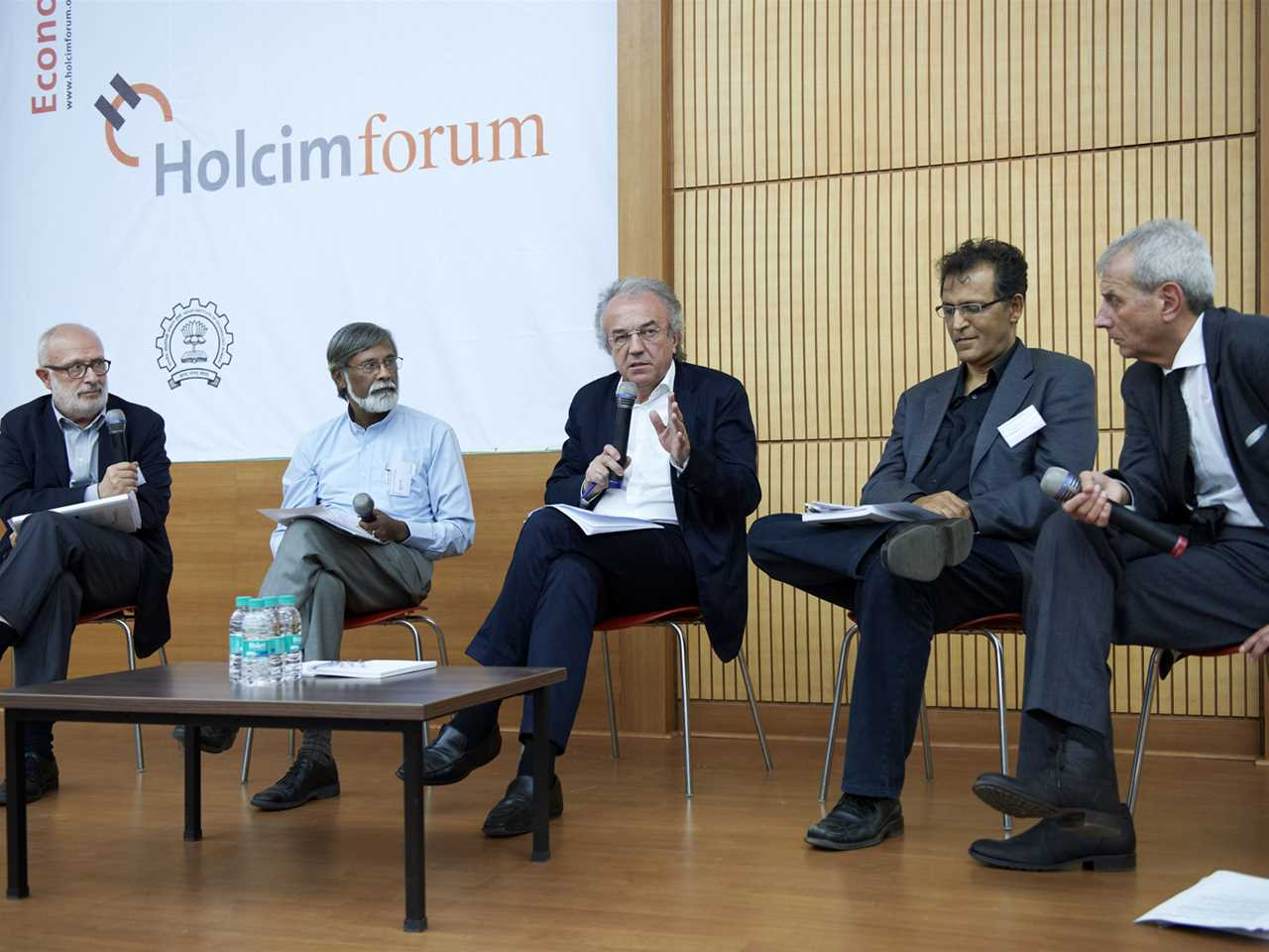 4th Holcim Forum in Mumbai, India 2013: Concluding debate discussing workshop findings (l-r): …