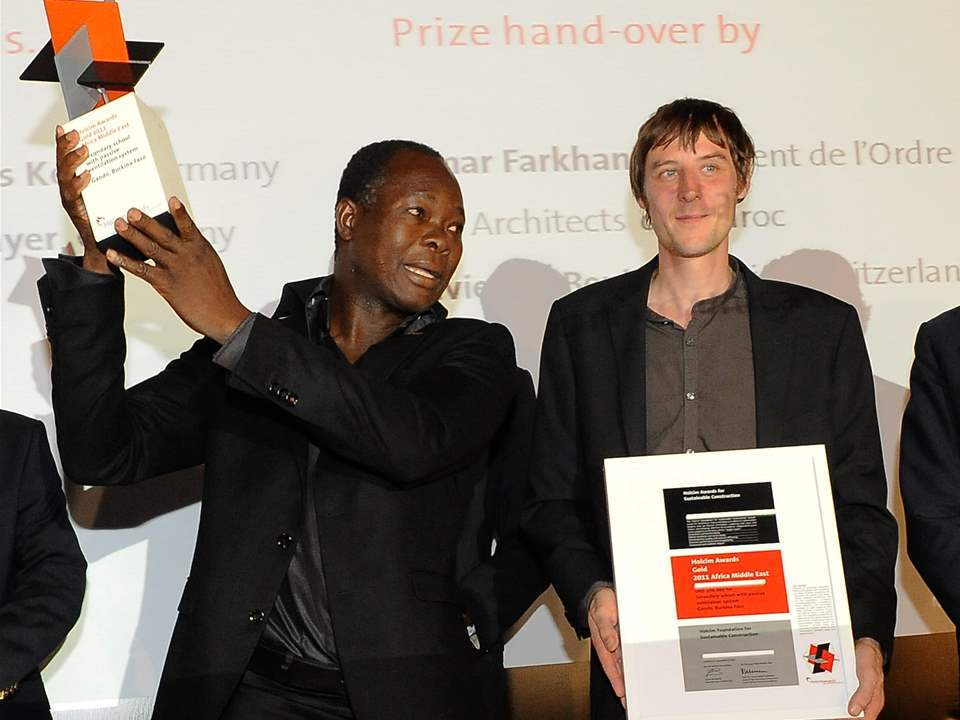 "Winners of the Holcim Awards Gold 2011 Africa Middle East for ""Secondary school with passive …"