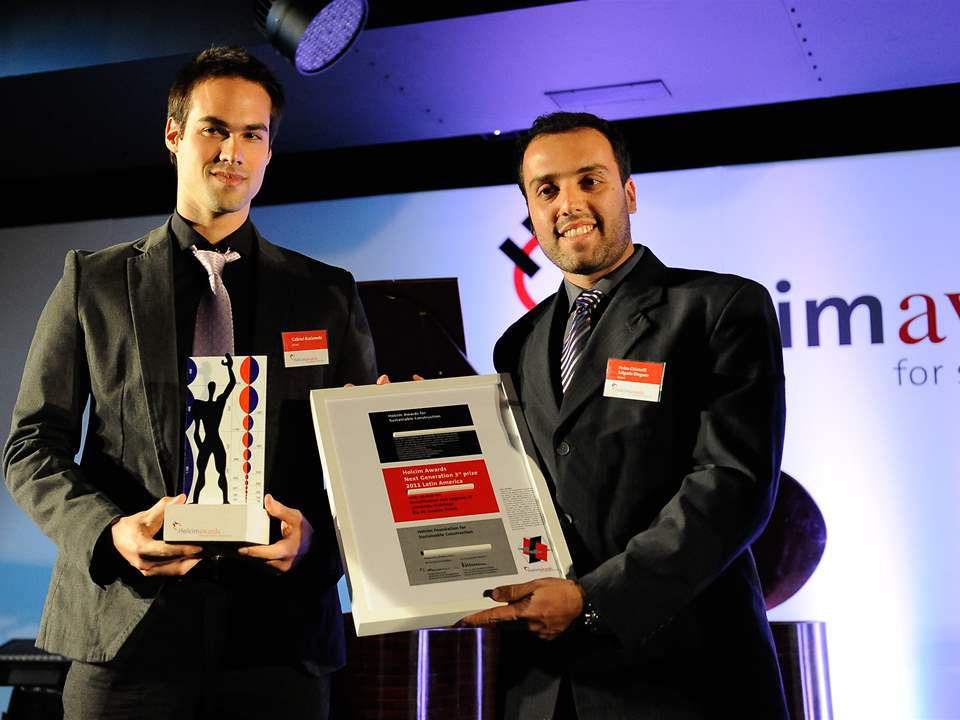 "Members of the winning team of the Holcim Awards ""Next Generation"" 3rd prize 2011 Latin America …"