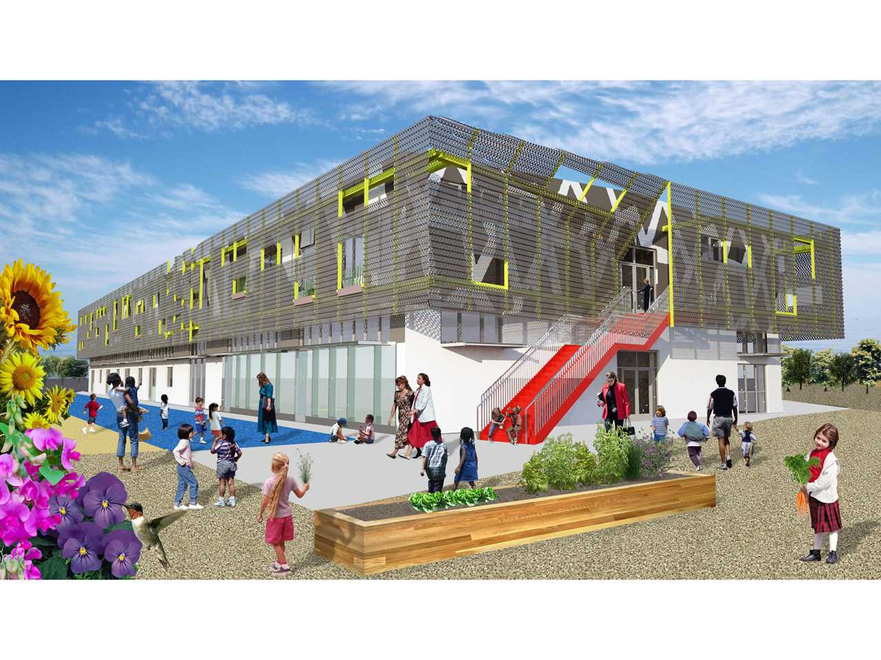 Project entry 2011 -  Zero net energy school building, Los Angeles, USA: Exterior rendering with …