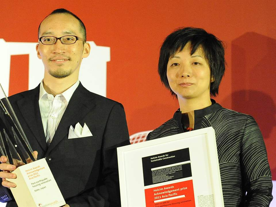 "Winners of the Holcim Awards 2011 Acknowledgement prize for ""Post-earthquake housing renovation, …"