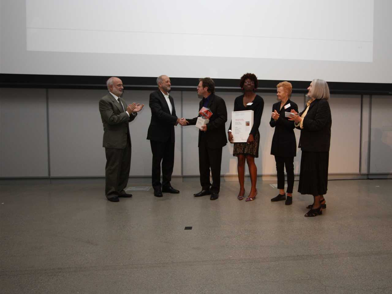 "Presentation of the Global Holcim Awards ""Innovation"" prize 2009: (l-r): Rolf Soiron, Chairman of …"