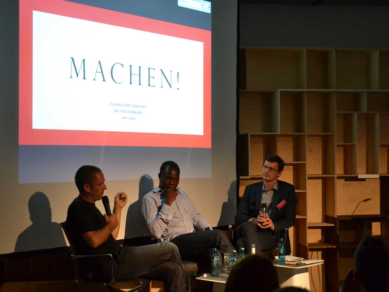 "Panel discussion on ""Old materials newly installed"" (l-r): Eike Roswag, architect, Ziegert 