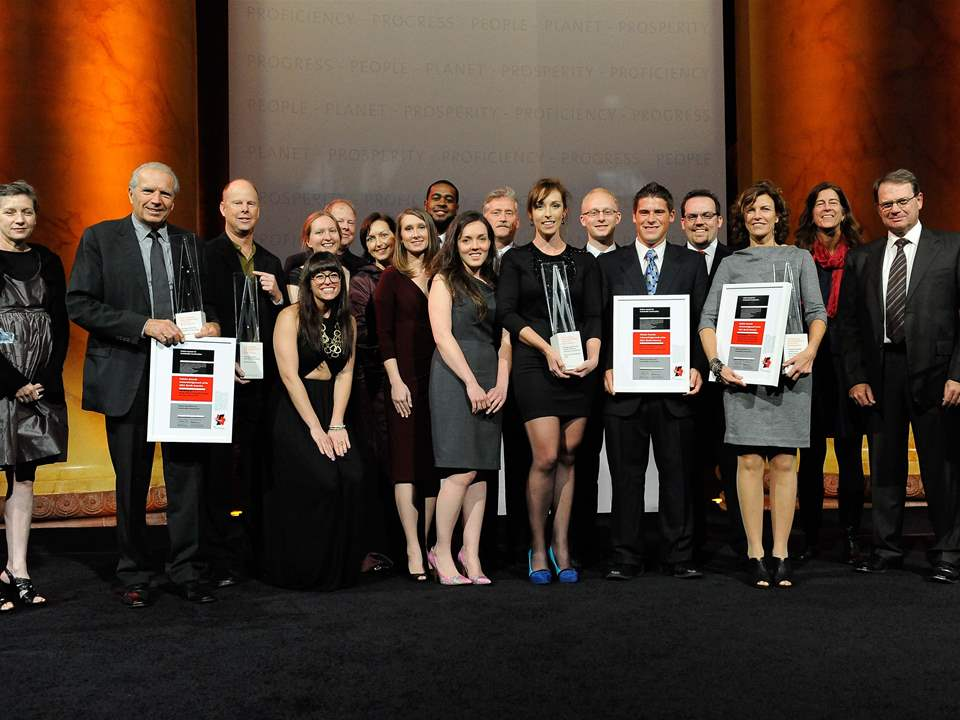 Winners of the four Holcim Awards Acknowledgement prizes congratulated by jury member Keller …