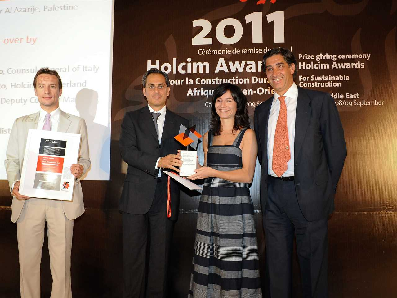 Holcim Awards Silver 2011 Africa Middle East presentation in Casablanca, Morocco (l-r): Luca …