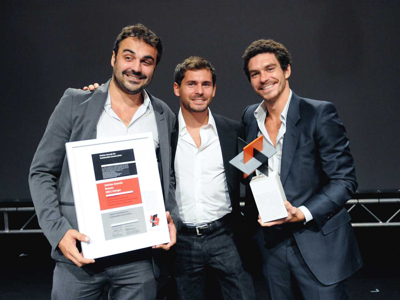 Winners of the Holcim Awards Bronze 2011 Europe at the regional Holcim Awards prize handover in …