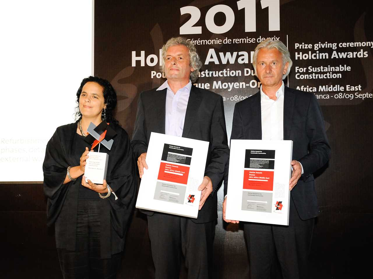 Representatives of the Holcim Awards Bronze 2011 Africa Middle East winner 'Training center for …