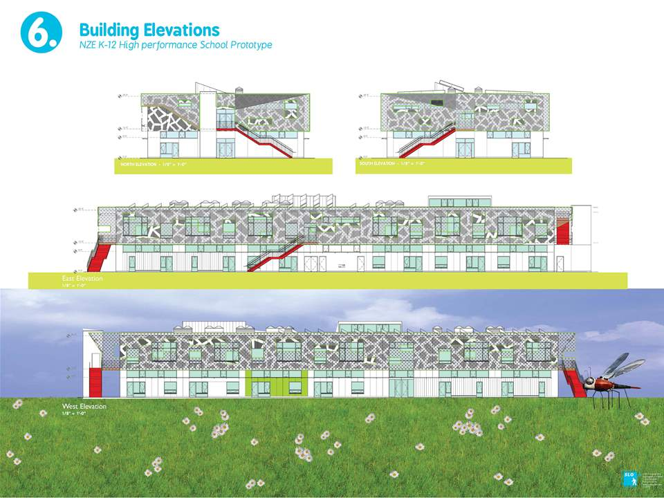 Project entry 2011 -  Zero net energy school building, Los Angeles, USA: Exterior elevations.