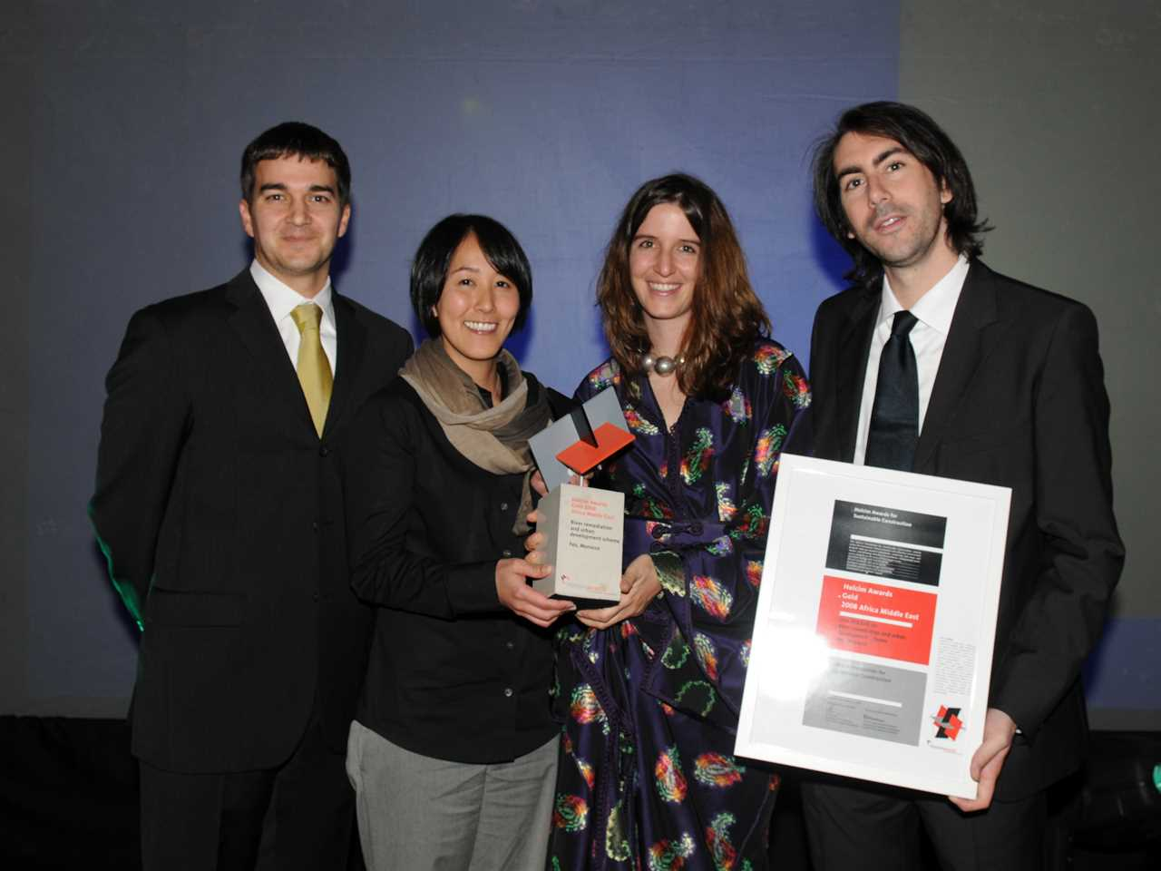 Winning team members Holcim Awards Gold 2008 (l-r): John Ferri, Takako Tajima, Aziza Chaouni, Dan …