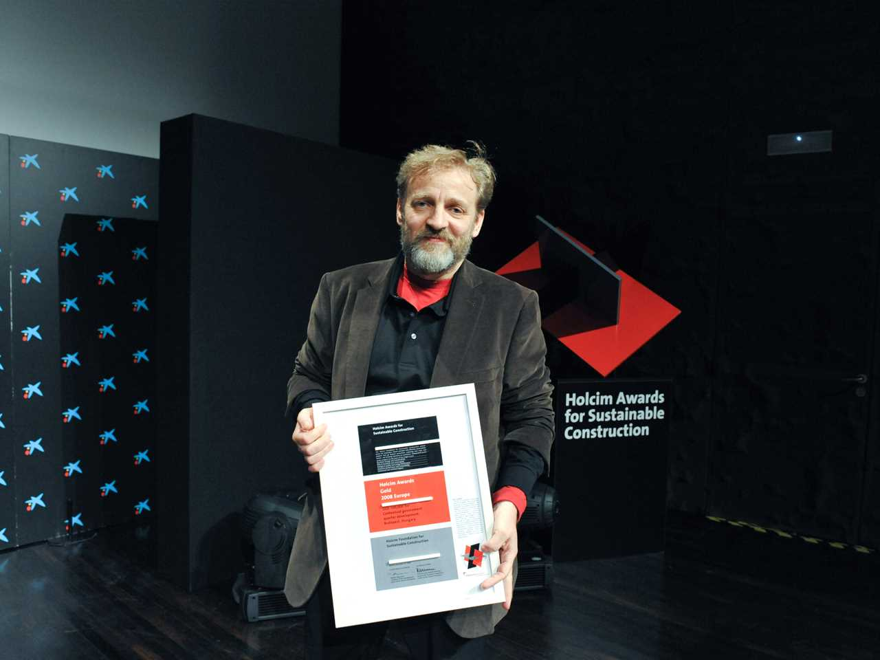 Holcim Awards Gold 2008 Europe winner Peter Janesch at the Awards ceremony in Madrid.