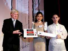 Encouragement prize (l-r): presented by P. O'Callaghan (Holcim Philippines) to Artessa Niccola D …