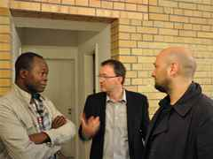 "Discussions at the opening of ""MACHEN!"" (l-r): Diébédo Francis Kéré, Global Holcim Awards Gold …"
