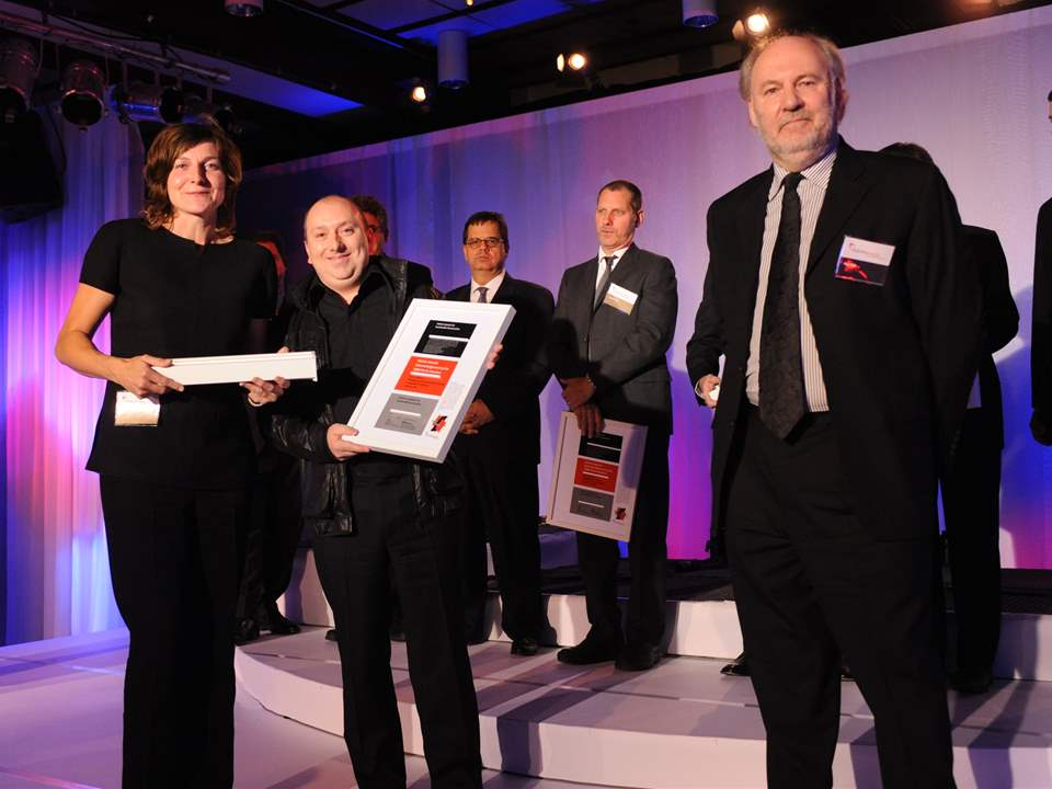 Holcim Awards Acknowledgement prize 2008 North America: (l-r) Erika Mayr, Stéphane Orsolini, and …