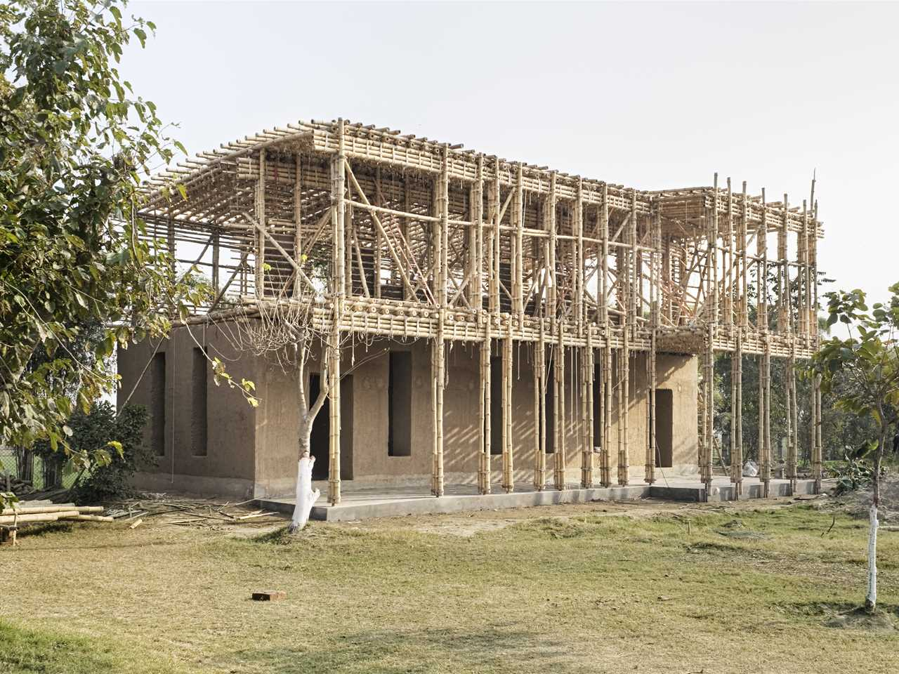 Locally-manufactured cob and bamboo school building