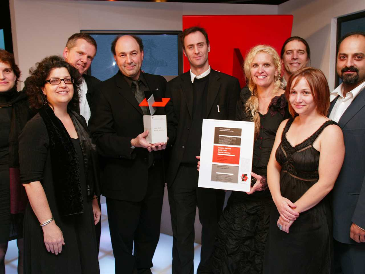Representatives from the team winning the Holcim Award Gold 2005 - North America prize (l-r): …