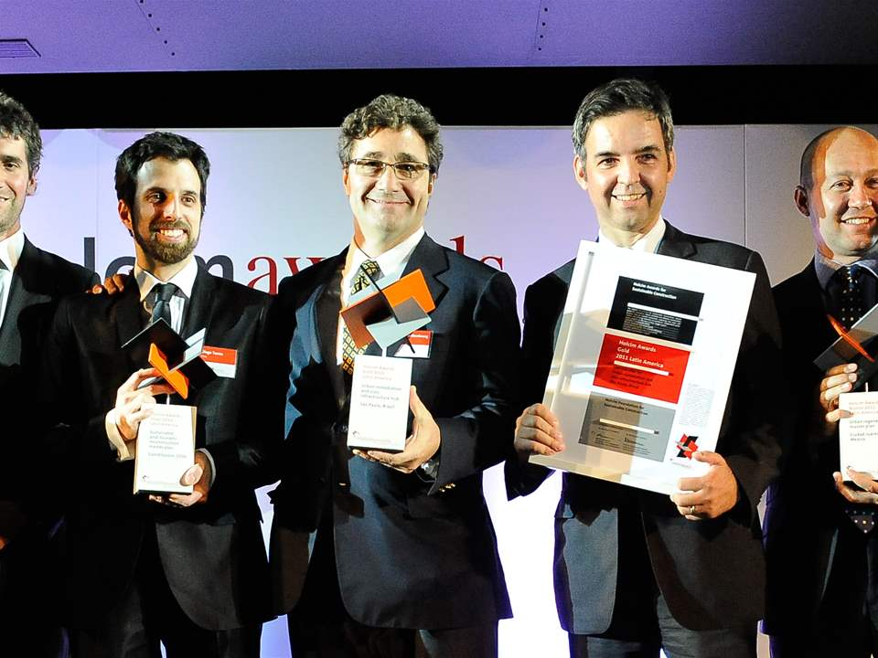 Winners of the Holcim Awards Gold, Silver and Bronze 2011 Latin America (l-r): Alejandro Aravena, …