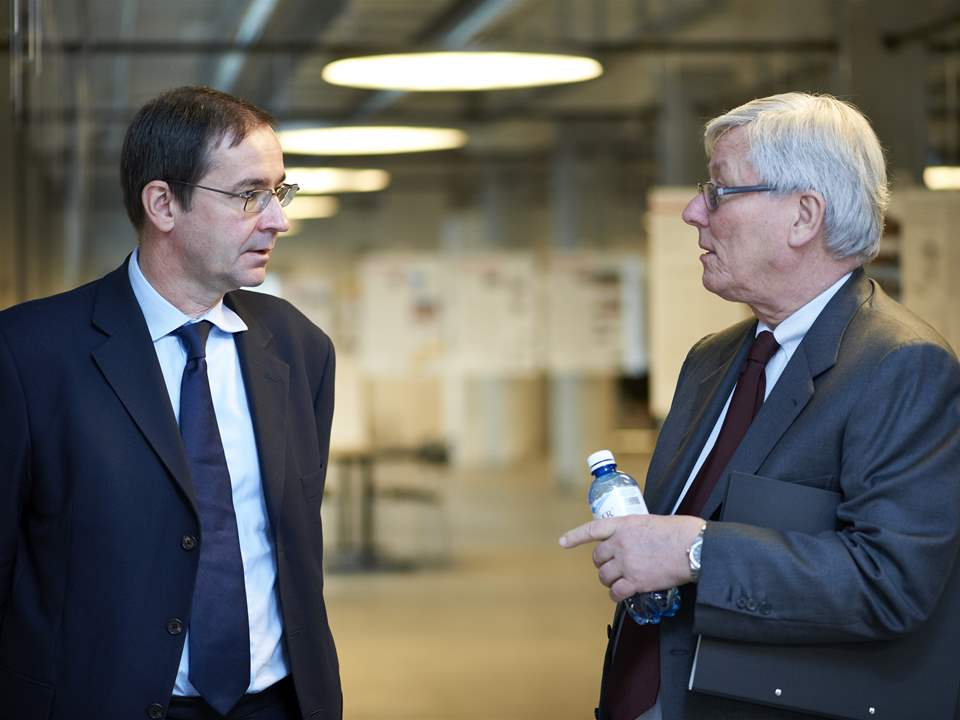 Bernard Fontana (left) and Markus Akermann during the Global Holcim Innovation prize 2012 jury …