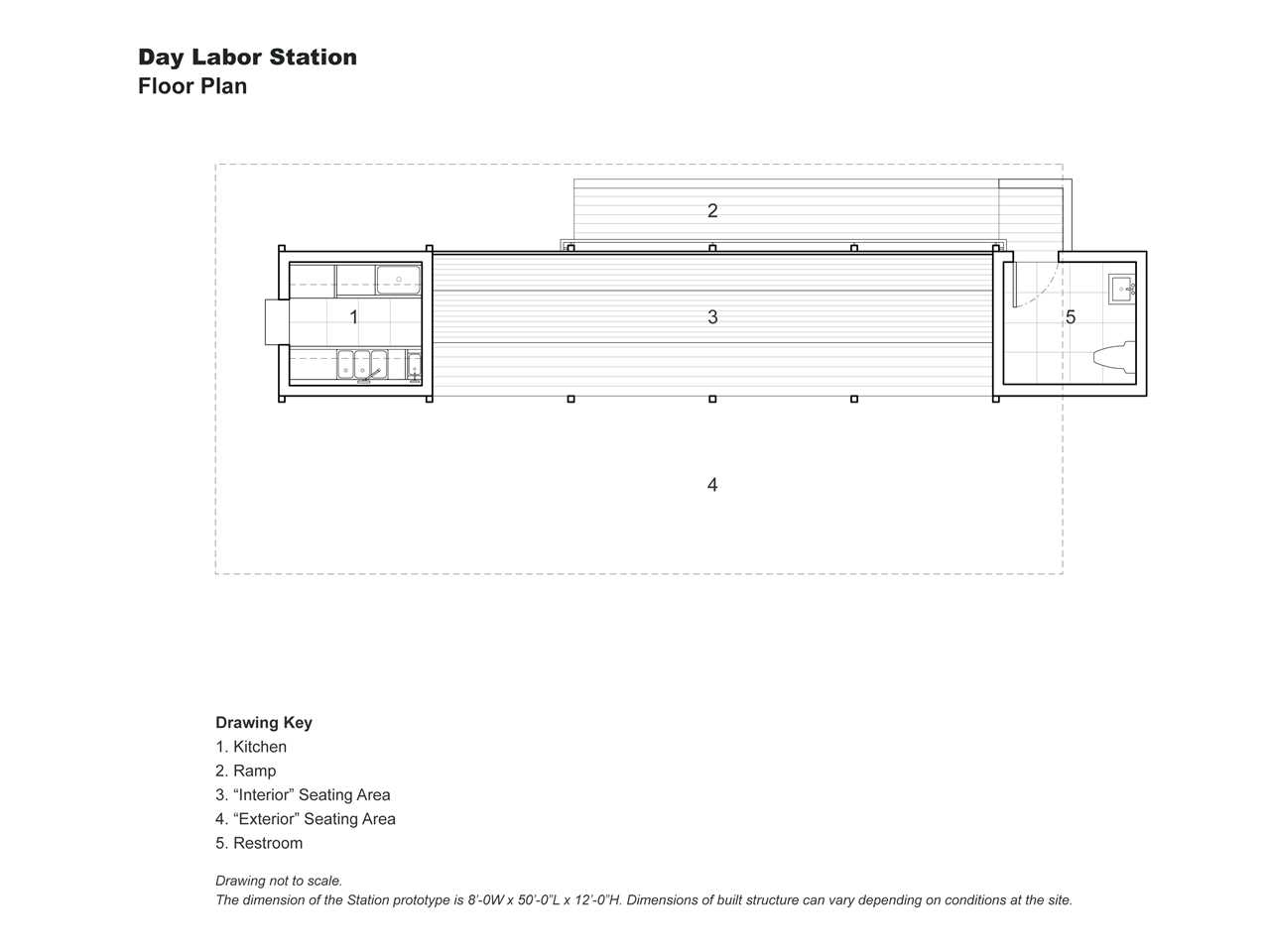 "Project entry 2008 North America - ""Self-contained day labor station, New York, USA"": Plan."