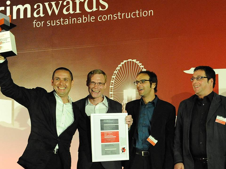 "Winners of the Holcim Awards Gold 2011 Asia Pacific for ""Locally-manufactured cob and bamboo …"