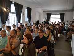 Around 200 attendees filled the auditorium at the Aedes Architekturforum in Berlin, demonstrating …