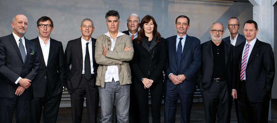 From left: Enrique Norten, Harry Gugger, Marc Angélil, Alejandro Aravena, Alex Biner, Maria …