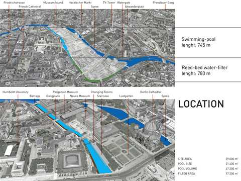 """Project entry 2011 """"Urban renewal and swimming-pool precinct"""", Berlin, Germany: Location …"""