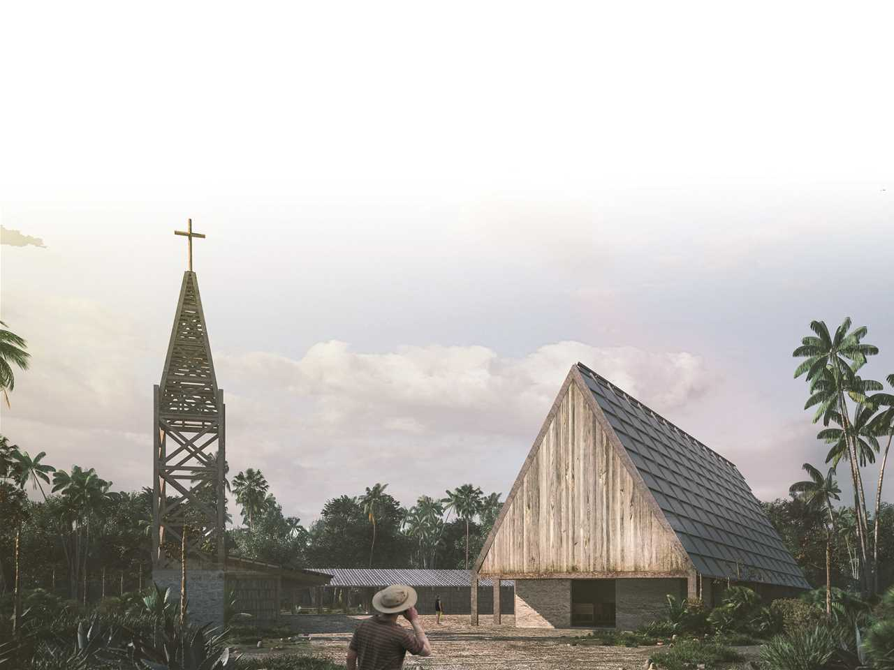"""""""Next Generation"""" 2nd prize – Laguna Chapel: Recycled timber church and community center, …"""