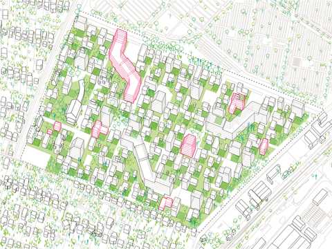 Eco-city: Sustainable urban development of a piece of the city. We use the green open …