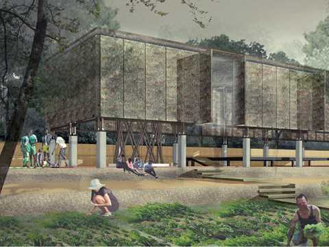 Rendering of the community hall.