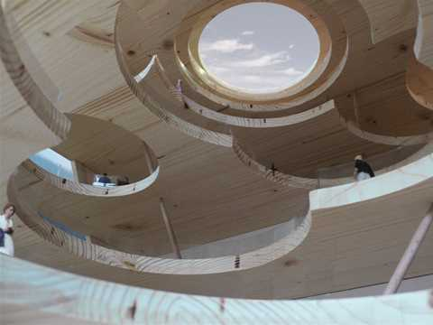 Perfectly circular openings in ceilings and floors afford views in and through the large …