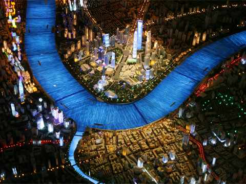 Shanghai Urban Planning Exhibition Center with the huge model showing Shanghai in 2020.