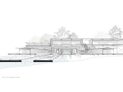 Section in perspective showing the 3 distinct levels of the complex. A floating level …