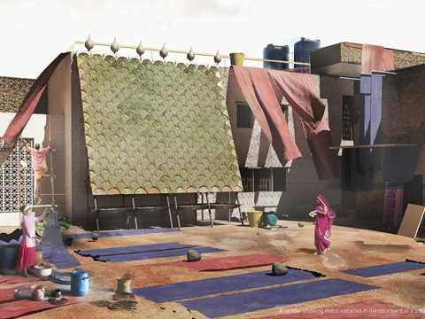 A render of the Indus wall installed in the courtyard of a textile dying industry in Jaipur, India.