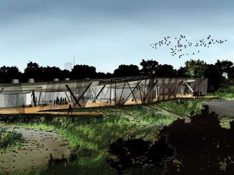 Environmental center and bird-watching facility using recycled materials