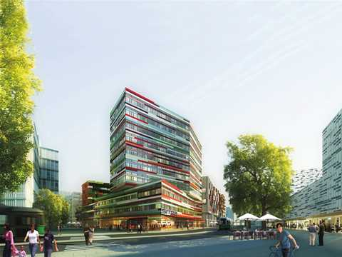 Medium rise timber office building in low-to-no carbon emissions district
