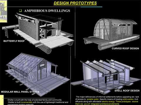 """Project entry 2008 Africa Middle East - """"Amphibious dwellings in informal settlements, …"""
