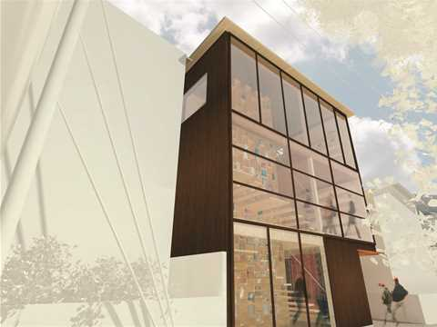 Street view of western façade: The wooden curtain-wall is composed by electrochromic …