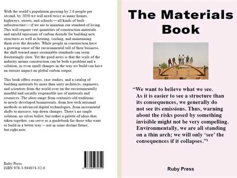 The Materials Book presents ideas on environmentally mindful and socially responsible use ...